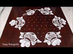 Bhogi Kundalu kolam    Sankranthi Muggulu 11 Dots    Easy Pongal Pot rangoli designs - YouTube Best Rangoli Design, Indian Rangoli Designs, Simple Rangoli Designs Images, Rangoli Designs Flower, Small Rangoli Design, Rangoli Patterns, Beautiful Rangoli Designs, Kolam Dots, Rangoli With Dots