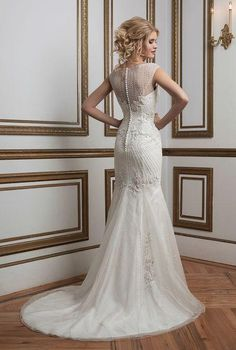 Justin Alexander wedding dress with buttons down the back