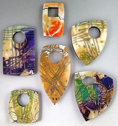 Barbara McGuire Examples of her Mokume Gane with 22kt gold leaf and rubber stamps technique video.