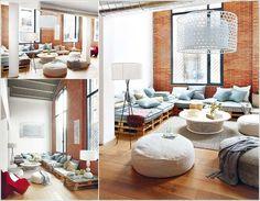 Výsledek obrázku pro nábytek z palet do obýváku