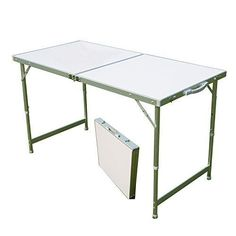 Camping Table Portable & Height Adjustable Aluminum Folding w/ Carrying Handle #CampingTable