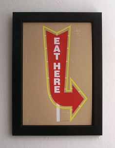 Eat Here Sign  125 x 19 by theemvee on Etsy, $20.00