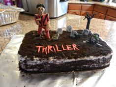 Michael Jackson's Thriller - Red velvet cake with cream cheese frosting and oreo crumbs for the dirt.  My friend Arturo is a huge Michael Jackson fan and wanted this cake for his birthday, which is very close to Halloween.