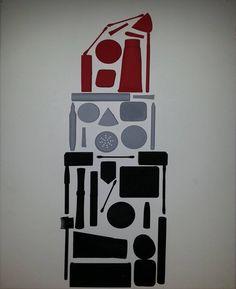 Artworks: Mixed Lipstick. Acrylic Paint, Mixed Media