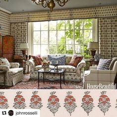 #Repost @johnrosselli with @repostapp  ・・・  Happy #textiletuesday ! Here is a little inspiration from @cathykincaidinteriors utilizing @robertkime Field Poppy fabric on the windows, walls and more in a @housebeautiful spread. What a space! #todaysinpiration #interiordesign #interiordesigner #windowswallsandmore #cathykincaidinteriors #aplacetocallhome #goals #textiles #print #robertkime #housebeautiful #feature #checkitout