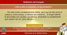 """MISIONEROS DE LA PALABRA DIVINA: MEDITACIÓN DEL EVANGELIO - """"¿No es éste el carpint..."""