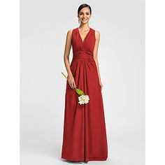 Dress - Mini Me A-line V-neck Floor-length Chiffon with Side Draping / Ruching – USD $ 79.99