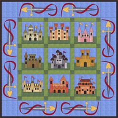 Castles Quilt Pattern FCP-009 (applique, throw, advanced beginner)- $14.95