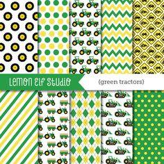 Green Tractors-Digital Paper (LES.DP19) – Lemon Elf Studio