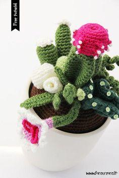 cactus flower at night Free Crochet Bag, Crochet Cross, Crochet Amigurumi, Amigurumi Patterns, Crochet Flower Patterns, Crochet Flowers, Cactus Craft, Cactus Plante, Crochet Cactus