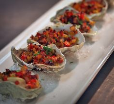 Grilled Oyster Casino with chopped pecan wood smoked bacon and green onions Clams Casino, Lunches And Dinners, Meals, Grilled Oysters, California Restaurants, Pecan Wood, Oyster Recipes, Whats For Lunch, Kitchens