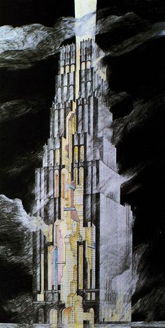 Moore, Ruble, Yudell, Late Entries to the Chicago Tribune Tower…  #architecture #drawing Pinned by www.modlar.com