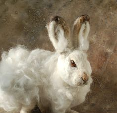 SALE Needle Felted Snow Hare by SarafinaFiberArt on Etsy