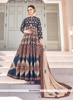 Embroidered Multi Colour Readymade Gown Silk Anarkali Suits, Anarkali Gown, Lehenga, Salwar Suits, Churidar, Salwar Kameez, Gown Suit, Dress Suits, Printed Gowns