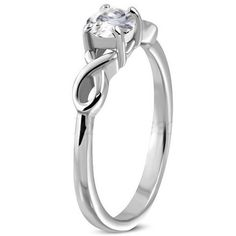 New Product - Personalized Stainless Steel Celtic Infinity Ring with Prong Set CZ - http://www.forevergifts.com/personalized-stainless-steel-celtic-infinity-ring-with-prong-set-cz/