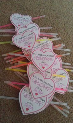 Glow stick Valentines-You make my heart glow! Great idea for kiddos school valentines. Dollar store glow sticks packs and card stok hearts.....super easy and cheap!