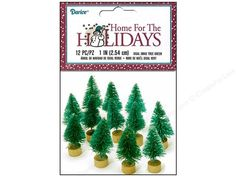 Darice Sisal Trees will add that special festive touch. These trees are perfect for any small display! Add them to decorate Christmas scenes, outside of doll houses, alongside model trains and more! 1 inch. Green with a wood base painted Antique Bronze. 12 pc.