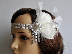 20s Flapper Feather Headband, Vintage Inspired Headpiece, The Great Gatsby Headband, 1920's, 1930's, Feather, Silver, ivory