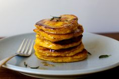 Winter squash pancakes with crispy sage and brown butter