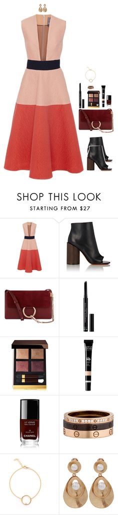 """Untitled #3349"" by xoxomuty on Polyvore featuring Lela Rose, Givenchy, Chloé, Christian Dior, Tom Ford, Chanel, Cartier, Oscar de la Renta and bossLady"