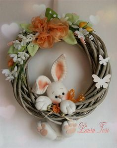 Wreath Crafts, Felt Crafts, Easter Crafts, Diy And Crafts, Spring Projects, Spring Crafts, Holiday Crafts, Easter Wreaths, Christmas Wreaths