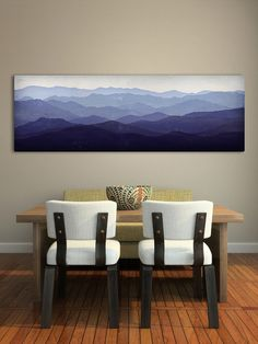 Mountain Memories Illustration - Smoky / Green - Mountains  Stretched Canvas Panel 16x48x1.5 inches Ready to Hang Wall Art