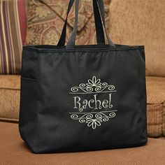 Flourish Frame Personalized Tote Bag comes in a variety of colors!
