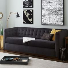 Rochester Sofa #westelm  It's not crazy expensive, and they have a faux suede that cleans up so so well