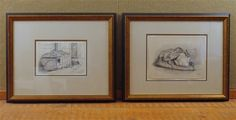 Pair of Arthur Fitzwilliam Tait 1853 and 1855 graphite on paper painting