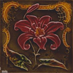 Antique  Majolica Art Nouveau Tile by Richards Tile Co.  #ArtNouveau