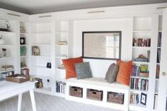 These 23 IKEA BILLY bookcase hacks share how you can transform your home with customized storage that fits your space, style, and budget.: BILLY Built-in Bench Seat
