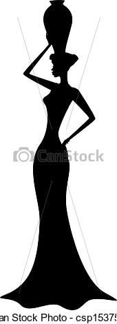 Vector - Silhouette of african girl - stock illustration, royalty free illustrations, stock clip art icon, stock clipart icons, logo, line art, EPS picture, pictures, graphic, graphics, drawing, drawings, vector image, artwork, EPS vector art