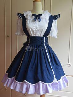 Sweet Blue Cotton Short Sleeves Lolita Outfits - Milanoo.com