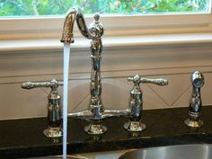 This is the faucet we got for the kitchen reno! This Glacier Bay Bridge Faucet gets a resounding 5 stars from our customers! Kitchen Ideals, Kitchen Faucet, Bali House, House Styles, Kitchen Remodel, Bedford House, Cabin Kitchens, Faucet, Kitchen Style