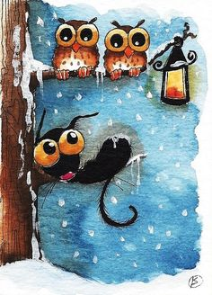 Stressie Cat Painting - By The Lantern by Lucia Stewart