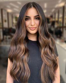 Balayage Hair Caramel, Brown Hair Balayage, Dark Hair With Highlights, Indian Hair Highlights, Gorgeous Hair Color, Long Dark Hair, Brunette Hair, Blonde Hair, Brown Hair Colors