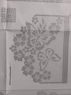 No image description. Filet Crochet, Crochet Doily Patterns, Crochet Borders, Crochet Doilies, Crochet Lace, Crochet Stitches, Crochet Butterfly, Crochet Flowers, Cross Stitch Bookmarks