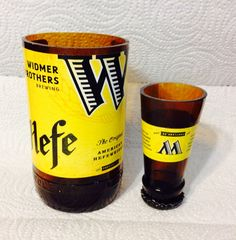 Widmer Brothers Shot Glass Chaser Set. Recycled Glass Bottle. Man Cave. on Etsy, $11.00