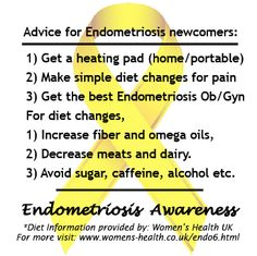 Advice for Endometriosis newcomers:    1) Get a heating pad (home/portable)    2) Make simple diet changes for pain    3) Get the best Endometriosis Ob/Gyn   #EndoAware   www.facebook.com/EndoTwinCitiesPublic  https://www.facebook.com/events/530399066983306/