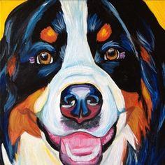 Bernese Mountain Dog (pet portrait painting)