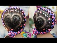 PEINADO INFANTIL/ CORAZON DE LADO CON TRENZA ENCINTADA/ FÁCIL Y RÁPIDO/ Peinados Rakel 59 - YouTube Lil Girl Hairstyles, Summer Hairstyles, Braided Hairstyles, Little Girl Braids, Girls Braids, Two Ponytails, Fantasy Hair, Creative Hairstyles, My Hair