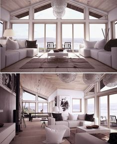 Vaulted ceiling + light colors, interior design, architecture, house design, living room  Beach house