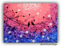 Love Birds welcoming Spring by SanthiyaArtPage on Etsy