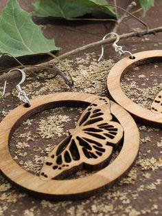 Butterfly Earrings  Laser Cut Wooden Hoops  by TimberGreenWoods, $15.95