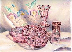 Facets ~ pink glass & embroidery pencil art still life