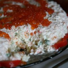 This potato salad—flavored with crabmeat, salmon caviar, and garlic-laced mayonnaise—was created by Tom Hudgins when he lived in the Russian city of Vladivostok.