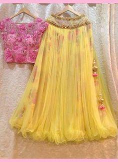 Haldi Ceremony Yellow Lehenga Choli With Handwork Half Saree Designs, Choli Designs, Lehenga Designs, Blouse Designs, Indian Gowns Dresses, Indian Fashion Dresses, Indian Designer Outfits, Indian Outfits, Designer Kurtis