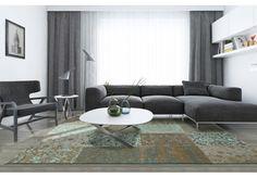 Dywany Patchwork :: Dywan naturalny vintage patchwork 8006 SeaBlue - zielono beżowy - Carpets&More - wysokiej klasy dywany i akcesoria tekstylne