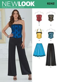 Misses' corset top can be made strapless or with a halter. Top can also have a lace overlay, sweetheart neckline, lace up front, and notched band. Wide leg pants or full skirt with side zipper finish this look. New Look sewing pattern. Motif Corset, Corset Sewing Pattern, Skirt Patterns Sewing, Clothing Patterns, Skirt Sewing, Pants Pattern, Top Pattern, Pattern Books, New Look Patterns