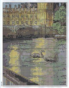 London scene 5 of 6 Cross Stitch House, Just Cross Stitch, Cross Stitch Charts, Cross Stitch Patterns, Diy Embroidery, Cross Stitch Embroidery, Cross Stitch Numbers, Cross Stitch Landscape, Cross Stitching